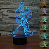 3D Illusion Bedside Table Lamp,WONFAST 7 Colors Changing Touch Switch LED Desk Night Light Decoration Lamps Perfect Birthday Christmas Gift (Ice Hockey)