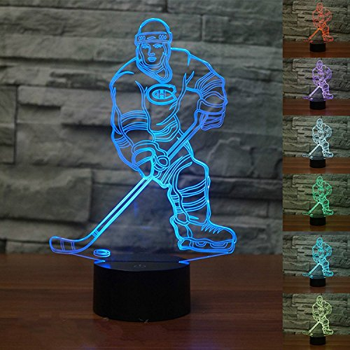 3D Hockey Player Illusion LED Lamp Night Light by YBest,7 Colors Change Desk Lamp with USB Cable Smart Touch Button,Perfect for Gift Toys Decorations ()