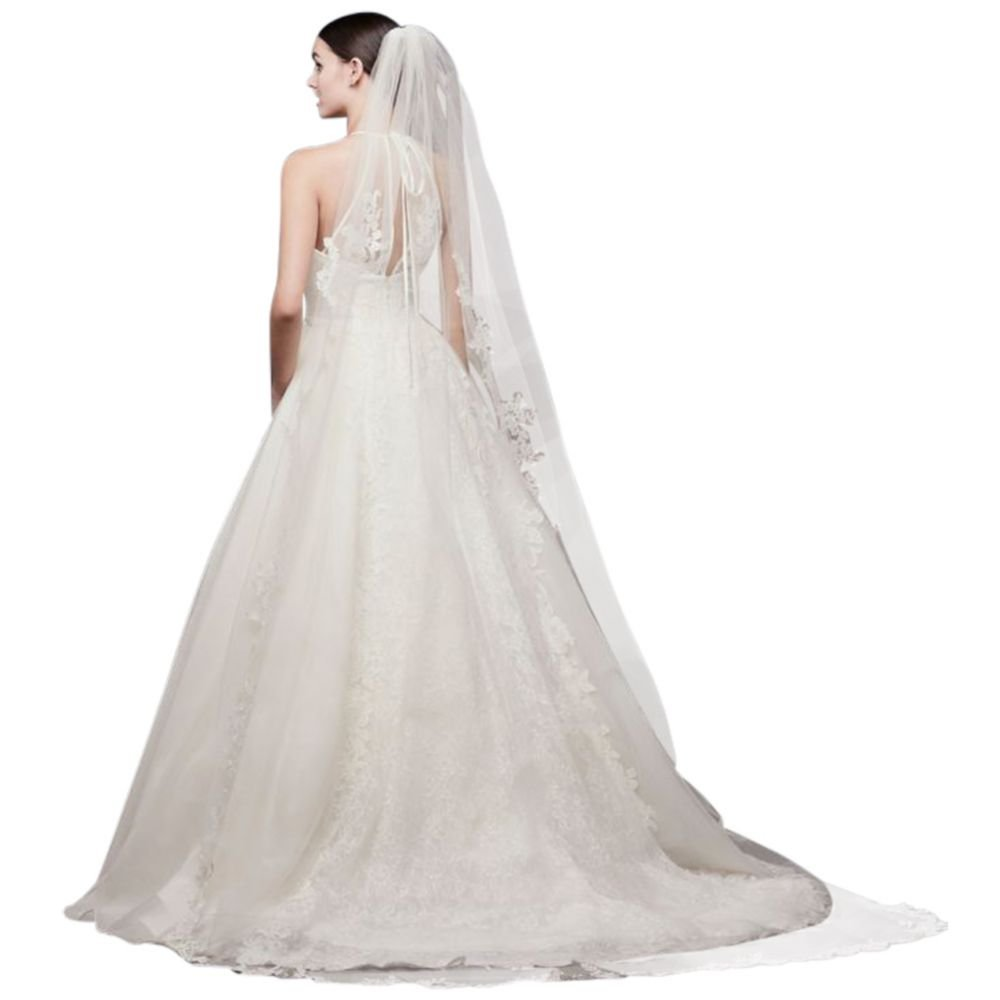 Corded Lace Edge Cathedral Veil Style V402L, Ivory