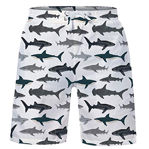 14-16 Years Boys Bathing Suits Whale Swim Trunks Shark Swimsuits Cute Sports Board Shorts Drawstring Swimwear Board Shorts with Mesh Lining and - Trunks Swimsuit Boys