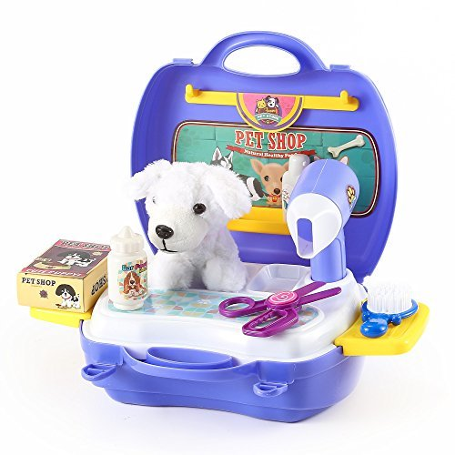 Pet Grooming Kit in Sturdy Gift Case (with Puppy Doll, Hair Dryer, Shampoo, Toy Scissors and Brush) by Kinder Toys (Puppy Love Grooming)