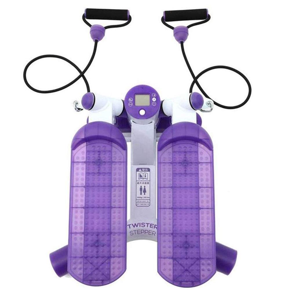 Steppers,Home Fitness Equipment,Silent Movement Stepper - Large Non-Slip Foot Plates and LCD Monitor, with Hydraulic Resistance,Purple