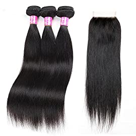 9A Brazilian Straight Hair With Closure 3 Bundles,80g/Bundle Unprocessed Virgin Human Hair Bundles With Lace Closure Free Part Hair Extensions Natural Color (10 12 14+10″,Free Part)