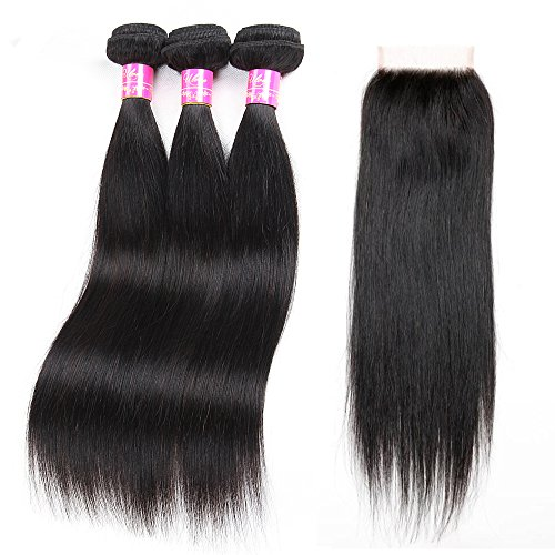 Brazilian Straight Hair With Closure 3 Bundles Unprocessed Virgin Human Hair Bundles With Lace Closure Free Part Hair Extensions Natural Color (20 22 24+18''closure) by ULOVE HAIR