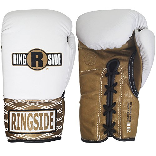 Ringside Ultimate Pro Fight Gloves, White/Brown, 8-Ounce