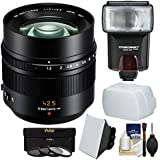 Panasonic Lumix G 42.5mm f/1.2 Leica DG Nocticron ASPH. Lens (Black) with 3 UV/CPL/ND8 Filters + Flash + Soft Box + Diffuser Kit for Series G Cameras