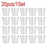 Disposable Cups, Oldeagle 20 Pcs Clear Plastic Disposable Birthday Party Bar Shot Wine Glasses Jelly Cups