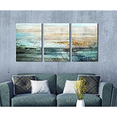 3 Panel Canvas Wall Art - Abstract Grunge Color Compositon - Giclee Print Gallery Wrap Modern Home Art Ready to Hang - 24