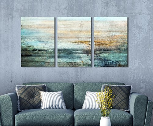 wall26 - 3 Panel Canvas Wall Art - Abstract Grunge Color Compositon - Giclee Print Gallery Wrap Modern Home Decor Ready to Hang - 36