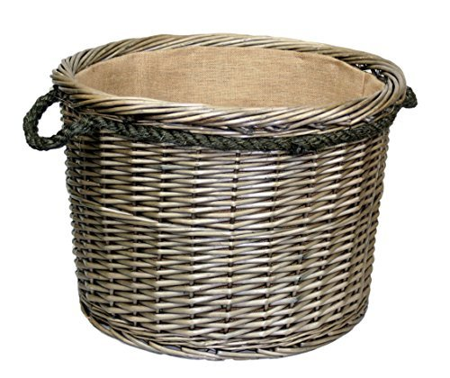 Extra Large Antique Wash Finish Rope Handled Wicker Log Basket by Wicker Warehouse