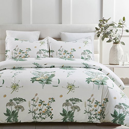 White Bedding Floral (Vaulia Lightweight Microfiber Duvet Cover Sets, Printed Floral Pattern Design - Queen Size)
