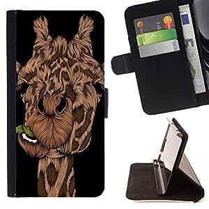 King Art - Premium-PU-Leder-Prima caja de la PU billetera de cuero con ranuras para tarjetas, efectivo Compartimiento desmontable y correa para la mu?eca FOR Samsung Galaxy S5 V SM-G900 G9009 G9008V- Giraffe Cute Cartoon