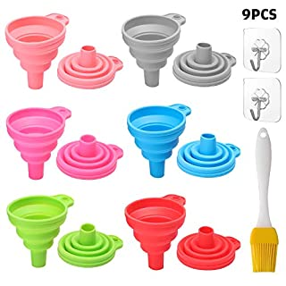 Silicone Collapsible Funnel Kitchen Set 6 Packs Small, For Flexible Extension Funnels, Bottles Beer Water, Mini Filling Bottles, Cake Mix, Essential Oils Flask, Protein Powder, Coolant, Coffee