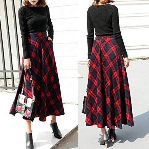 Taille Élastique Cheville Flare Ligne Longue Kaister Jupe Plaid Rouge Femmes Haute Maxi Une 35L4ARjq