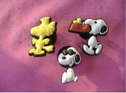 3 Snoopy Woodstock Shoe Charm Peanuts (Snoopy And Woodstock Charm)