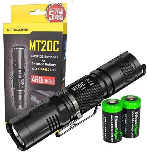 EdisonBright NITECORE MT20C 460 Lumens CREE XP-G2 LED Tactical Flashlight with 2 X CR123A Lithium Batteries Bundle