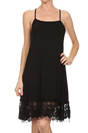 20d22748ba7c Black Lace Trim Long Full Length Camisole Slip Top/Dress Extender (Small)