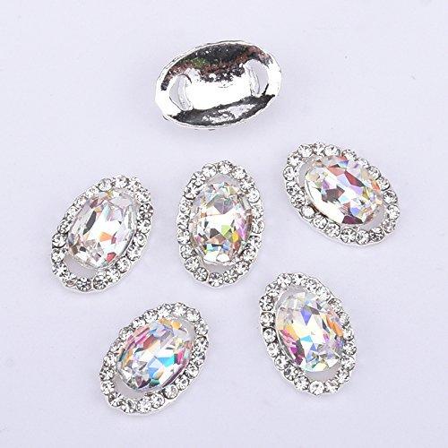 Meicailin 5Pcs Ovale Cristal de Bijoux Accessoire Nail Art 3D Décoration Ongle