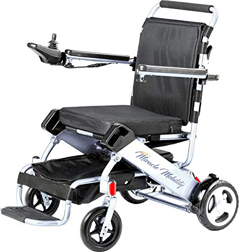 (Miracle Mobility Freedom Series Gold Electric Folding Mobility Wheelchair with Two 180W Motors and 24V, 240Wh Lithium Ion Battery, Silver)