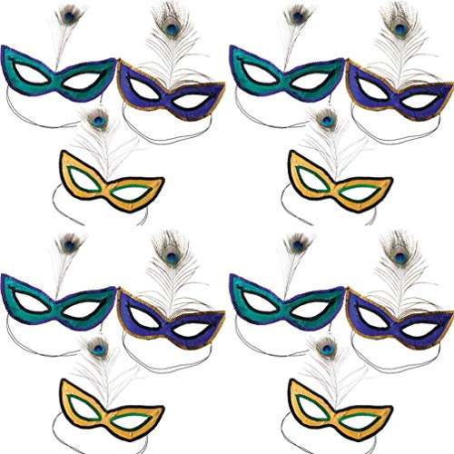 HAPPY DEALS ~ 12 Sequin Mardi Gras Masks with Feathers - Mardi Gras Photo Booth Props and Mardi Gras Decorations]()