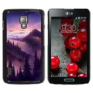 Paccase / SLIM PC / Aliminium Casa Carcasa Funda Case Cover - Sunset Sunrise Mountains Trees - LG Optimus L7 II P710 / L7X P714