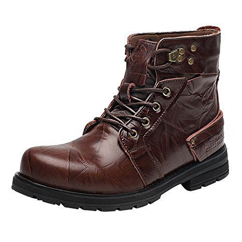 Shenn Men's Work Space Stylish Ankle High Wear-Resistant Split Leather Combat&Motorcycle Boots 1877k(Coffee,us9)