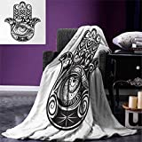 Hamsa Super Soft Lightweight Blanket Arabian Art in Black White Eastern Icon Crescent Moon Star All Seeing Eye Oversized Travel Throw Cover Blanket 90''x70'' Black White