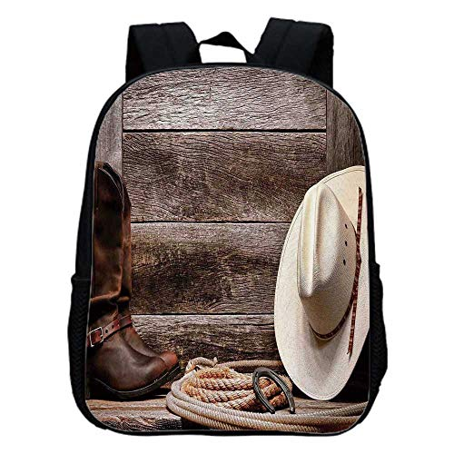 Western Decor Fashion Kindergarten Shoulder Bag,American West Rodeo White Straw Cowboy Hat with Lariat Leather Boots on Rustic Barn Wood For Hiking,One_Size