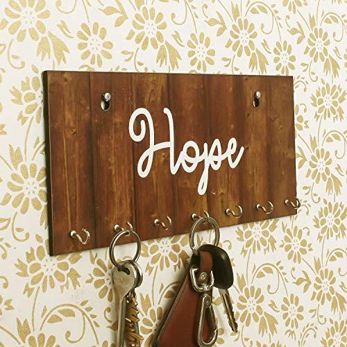 eCraftIndia Hope Theme Wooden Key Holder with 7 Hooks