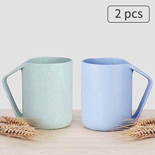 UPSTYLE Retro Coffee Mug Eco-friendly Wheat Straw Lightweight 13.5oz Drink Cup Tumblers Biodegradable Plastic Mug with Handle for Water, Coffee, Milk, Tea (Blue+Green) ()