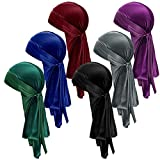 6 Pieces Velvet Durag Cap for Men and Women Soft