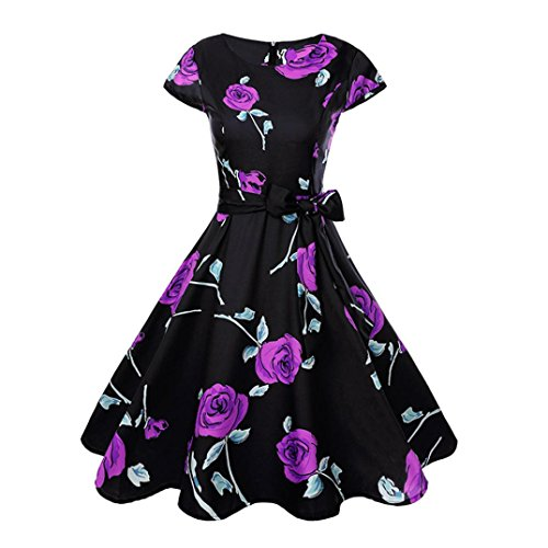 Muranba Party Dress, Women Vintage Bodycon Sleeveless Casual Evening Party Swing Dress (Purple345, 2XL)