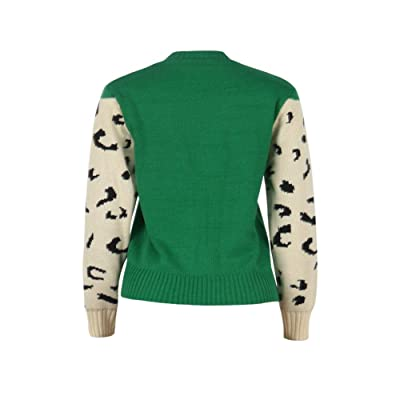 Mansy Womens Casual Long Sleeve Crew Neck Cute Animal Leopard Print Knitted Pullover Sweater Tops