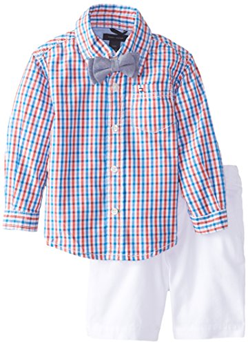 Tommy Hilfiger Baby Boys' Prep Check Poplin Shirt with Flat Front Short, Hibiscus Tea, 12 Months