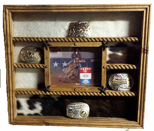 14 Buckle Display with 8x10 Picture Frame - Cowhide Cowhide Picture Frame