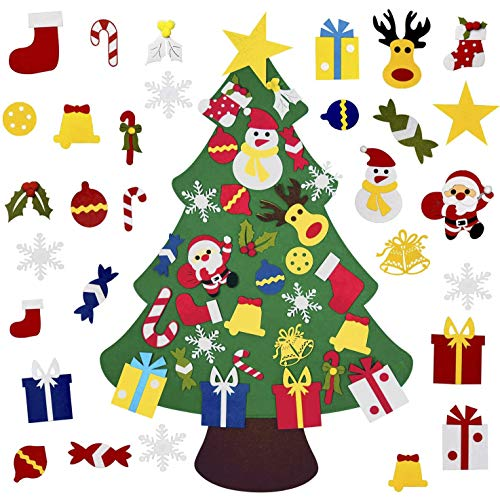 KEVIN-KW DIY Felt Christmas Tree with 30pcs Ornaments,Christmas Door Wall Hanging Decorations,Xmas Gifts for Kids New Year Handmade,Felt Christmas Tree for Toddlers (Handmade Felt Christmas Gifts)