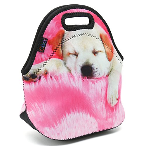 iColor Soft Boys Girls Waterproof Insulated Neoprene Lunch Container School Office Travel Outdoor Work Lunch Bag Tote Cooler Lunch Box Handbag Food Storage Carrying Bag (Sleeping Dag) HST-LB-005 by iColor (Image #7)