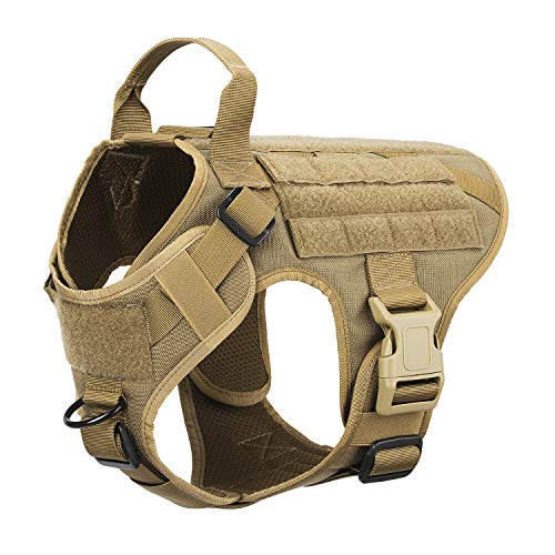 TAK YIYING Military Tactical K9 Overhead Dog Harness Vest No-Pull Front Clips 5 Point Fully Adjustable Easy Grab Handle Breathable Padded Air Mesh (M(Chest 26