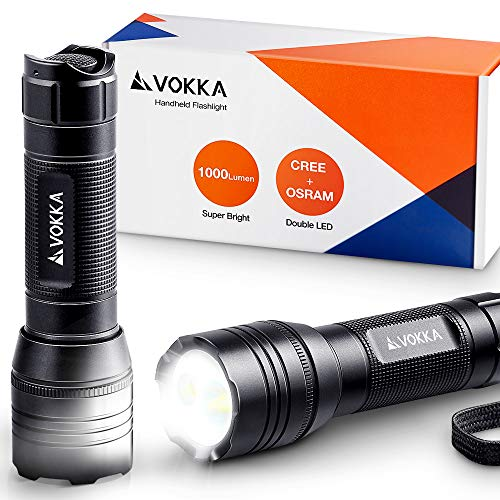 Dual Light Flashlight - VOKKA 1000-Lumen Small Flashlight, CREE/OSRAM Dual-LEDs, 5 Modes, IP65 Water-Resistant, Rechargeable Handheld Flashlight with Tactical Silent Button, for Dog-Walking, Camping, Hiking, Emergencies