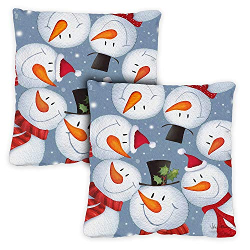 Toland Home Garden Decorative Snowman Selfie Winter Funny Holiday Snowmen 18 x 18 Inch Pillow Case (2-Pack) from Toland Home Garden