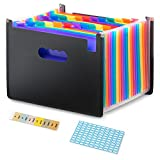 Shiplies 24 Pockets Portable Expanding Accordion File Folder for Files and Documents -with Tabbed Insert and Blank Labels