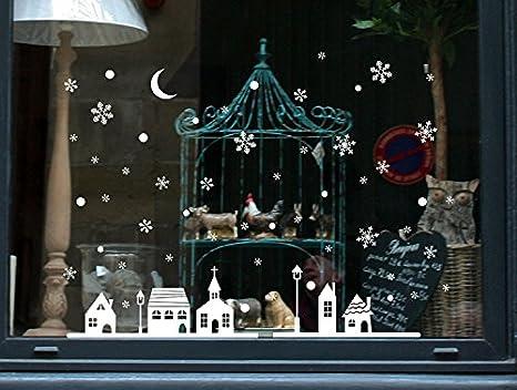 JiaMeng Tienda de Navidad Ventana Decoración Pegatinas de Pared Ciudad de Navidad Copos de Nieve: Amazon.es: Juguetes y juegos
