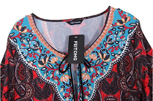 Bolayu Femmes Cru Bohème Cou Style Ethnique Imprimé Robe De Quart De Travail D'été Cravate