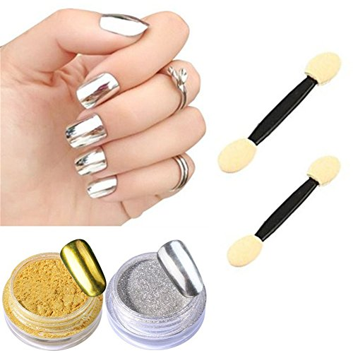 Born Pretty 2 Box Mirror Powder Gold Silver Pigment Nail Glitter Nail Art Chrome Powder with Matching Brushes(Silver+Gold,2Box)