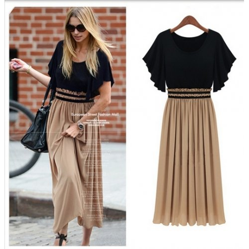 Robe ANGATRADE Damen Kleid Mehrfarbig Noir/Beige