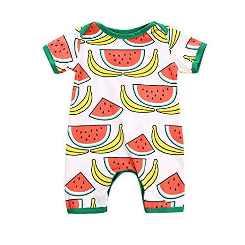 DORIC Infant Kid Baby Boys&Girls Watermelon Bananas Print Short Sleeve Romper Playsuit (Banana Satin Striped)