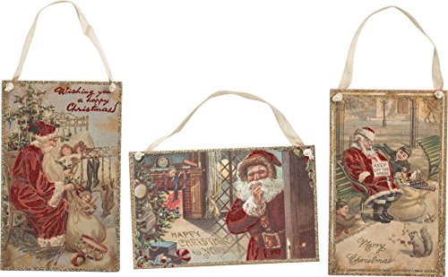 (Primitives by Kathy Vintage Santa Hang Up Sign Set - 3 Classic Christmas Inspired Woods Signs with Glitter Embellishments)