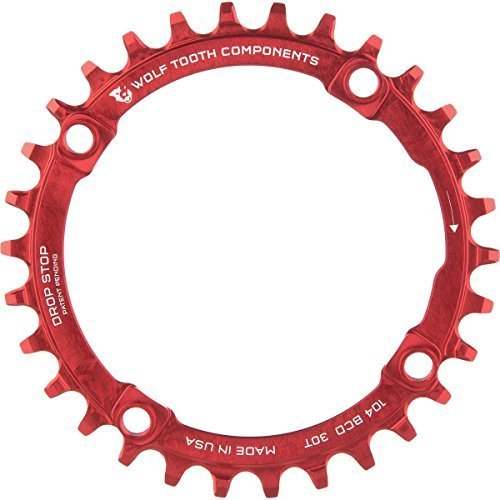 Wolf Tooth Components Drop Stop Chainring Red, 34T/104 BCD by Wolf Tooth Components