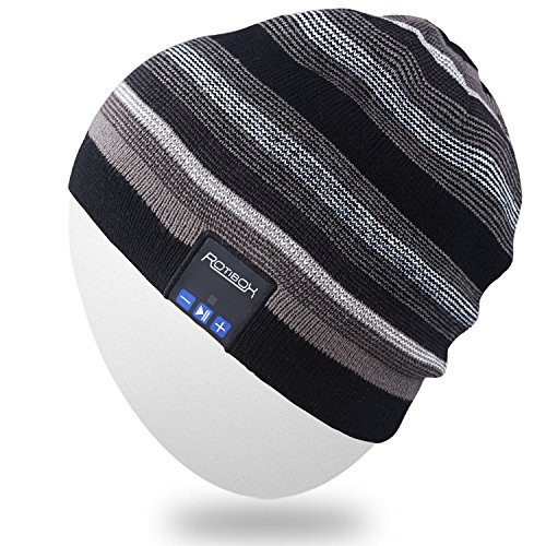 Rotibox Wireless Bluetooth Beanie Hat Cap Striped Pom Pom with Headphones Headsets Earphones Speaker Hands-free Call for Gym Outdoor Sports Skiing Running Skating Walking,Christmas Gifts - Black