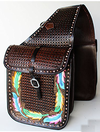 - PRORIDER Horse Western Saddle Bag OR Motorcycle Saddle Bags Hand Tooled Leather 10215